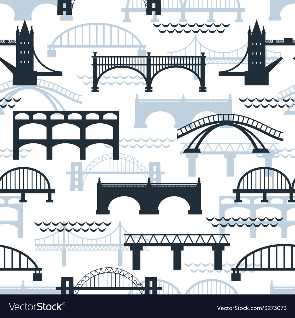 Seamless pattern of bridge silhouettes vector