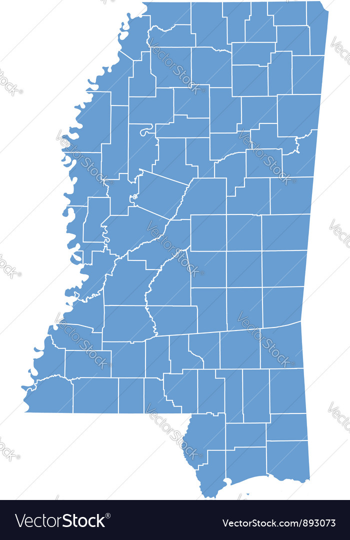 State map of mississippi by counties vector