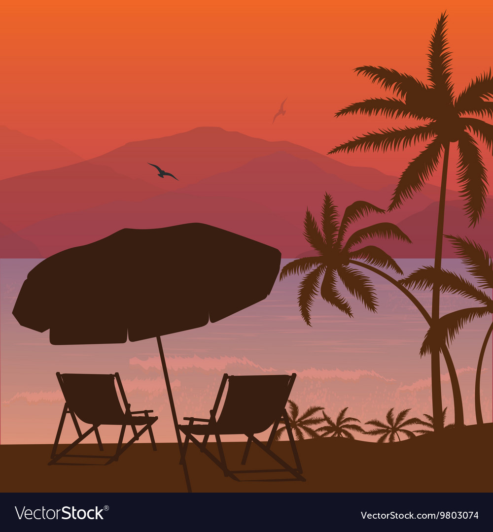 Beach sunset two chair palm tree and umbrella vector
