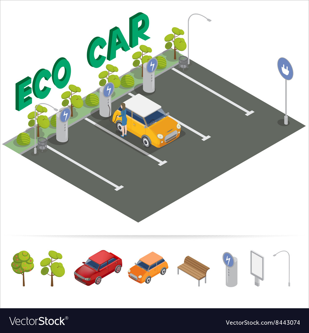 Eco car isometric transportation charging station vector
