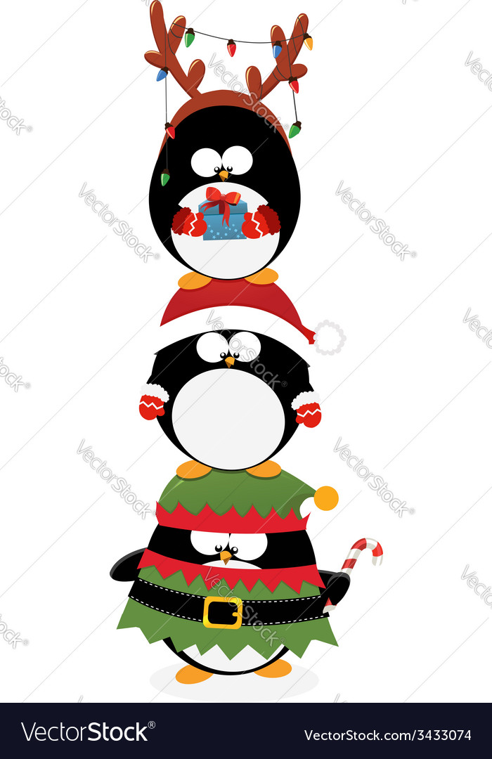 Penguins piled up vector