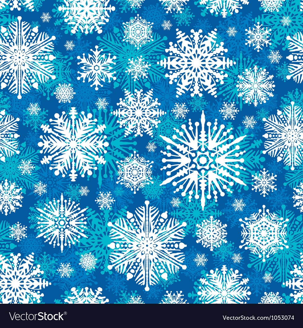 Seamless winter snowflakes vector
