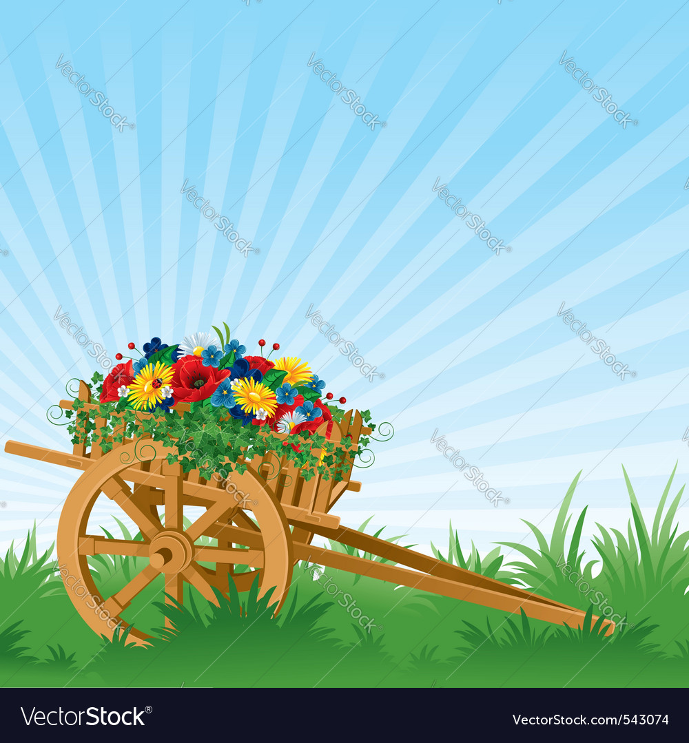 Vintage wooden cart detailed vector