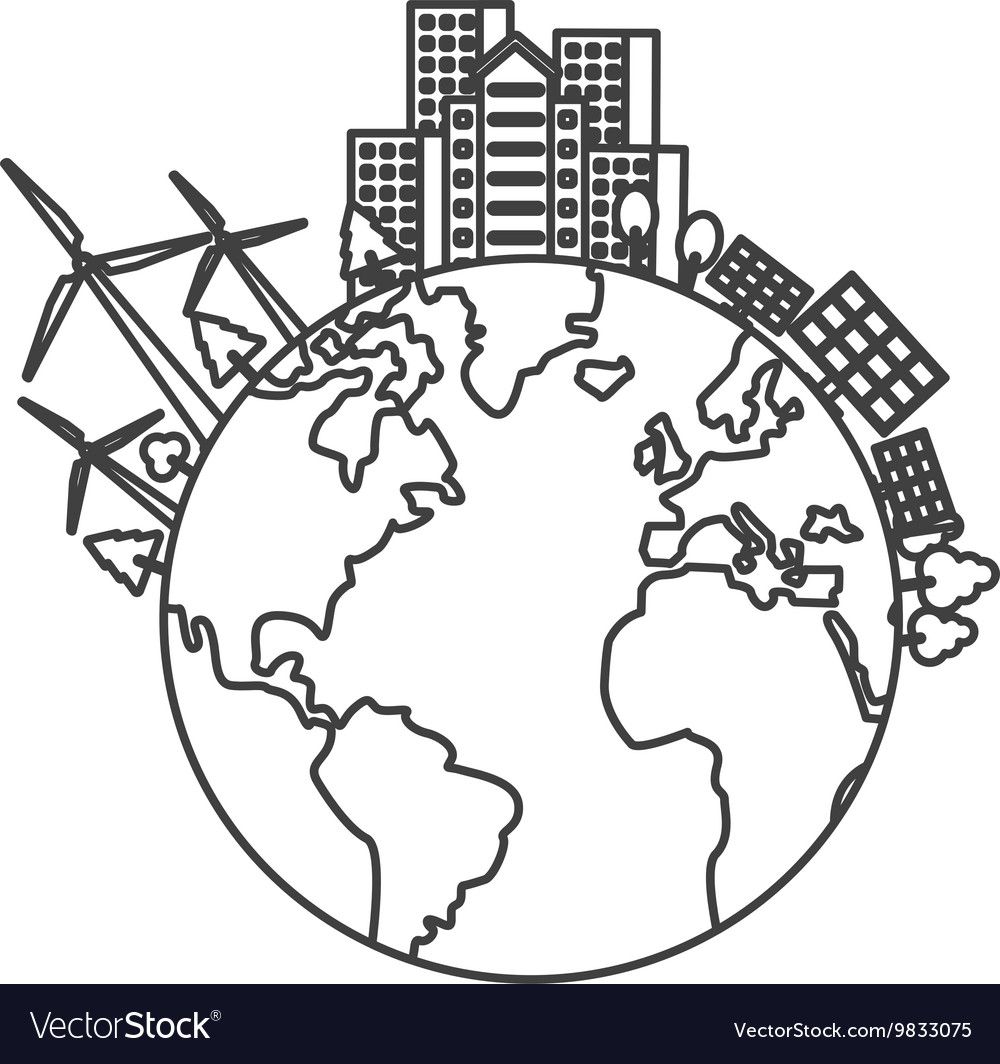 Earth globe with buildings and wind turbines icon vector
