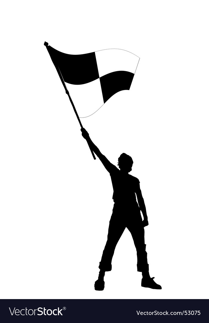 Man with checkered flag vector