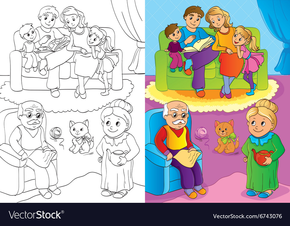 Coloring book of whole family is at home vector