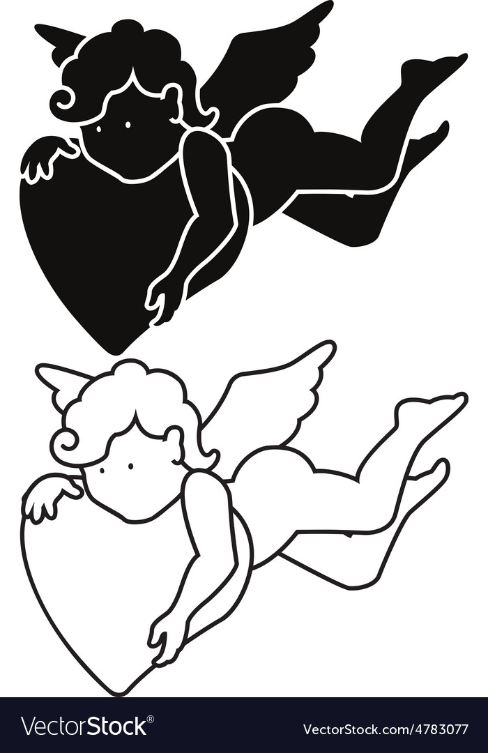 Cartoon angel silhouette and outline vector