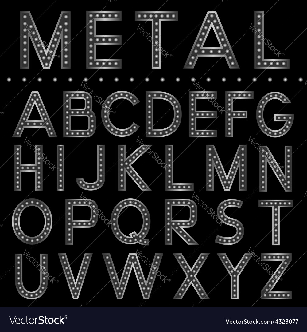 Metal ball letters vector