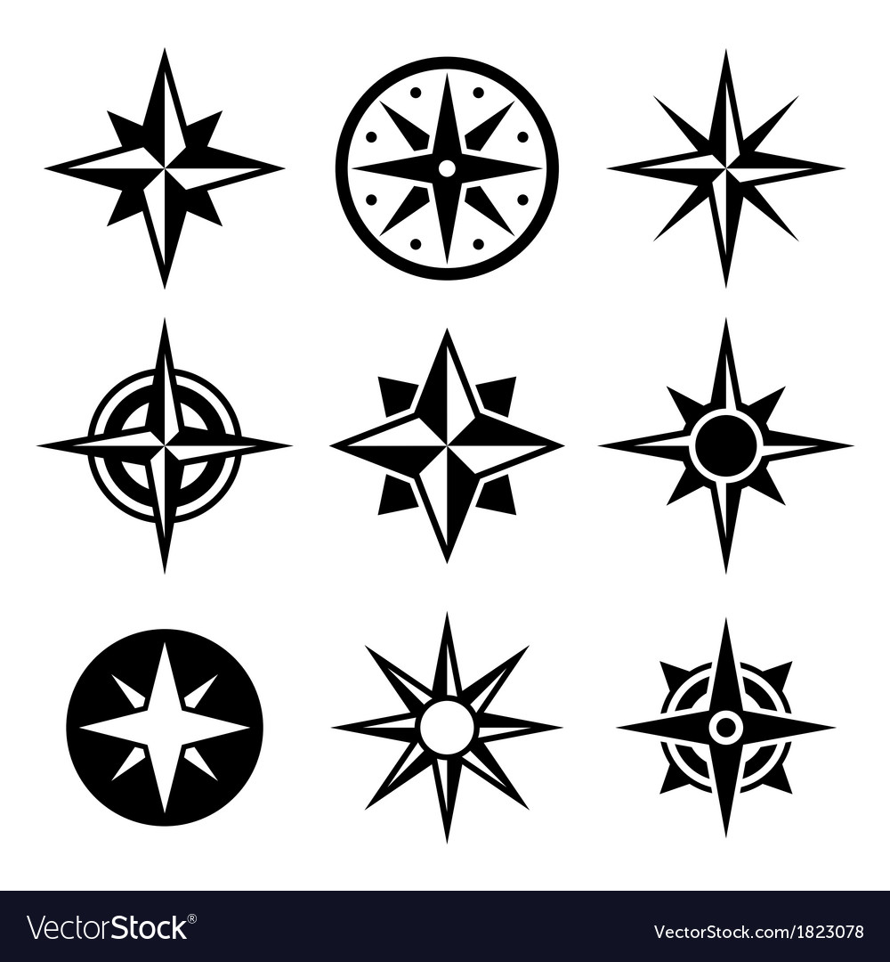 Compass and wind rose icons set vector