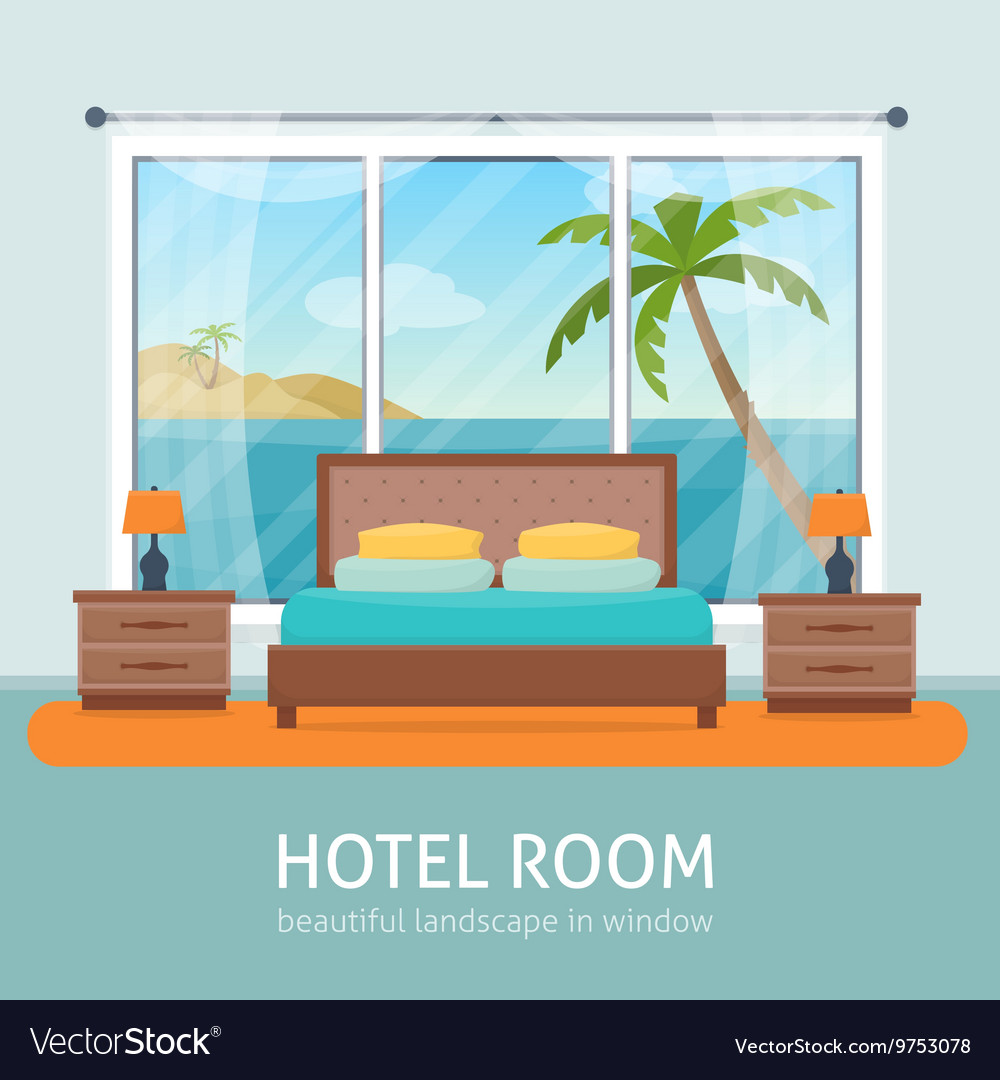Hotel room with sea vector