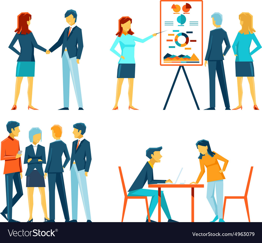 Business people in different poses vector