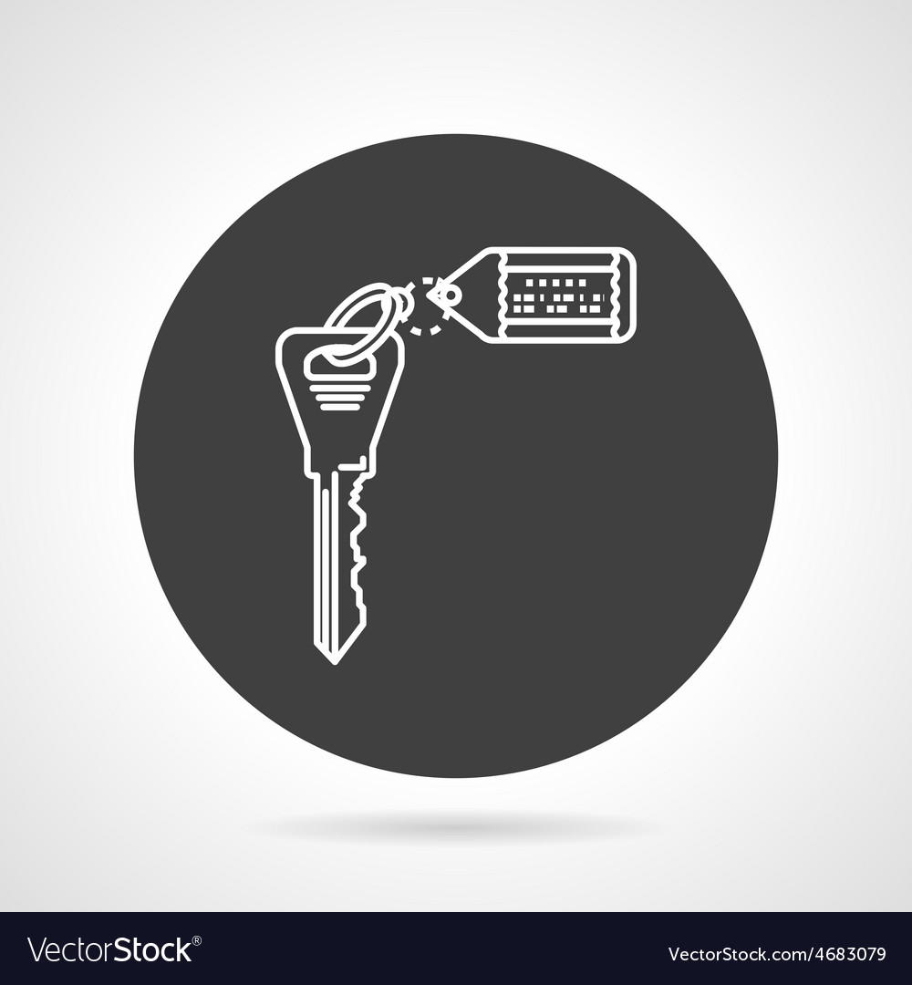 Key with tag black round icon vector