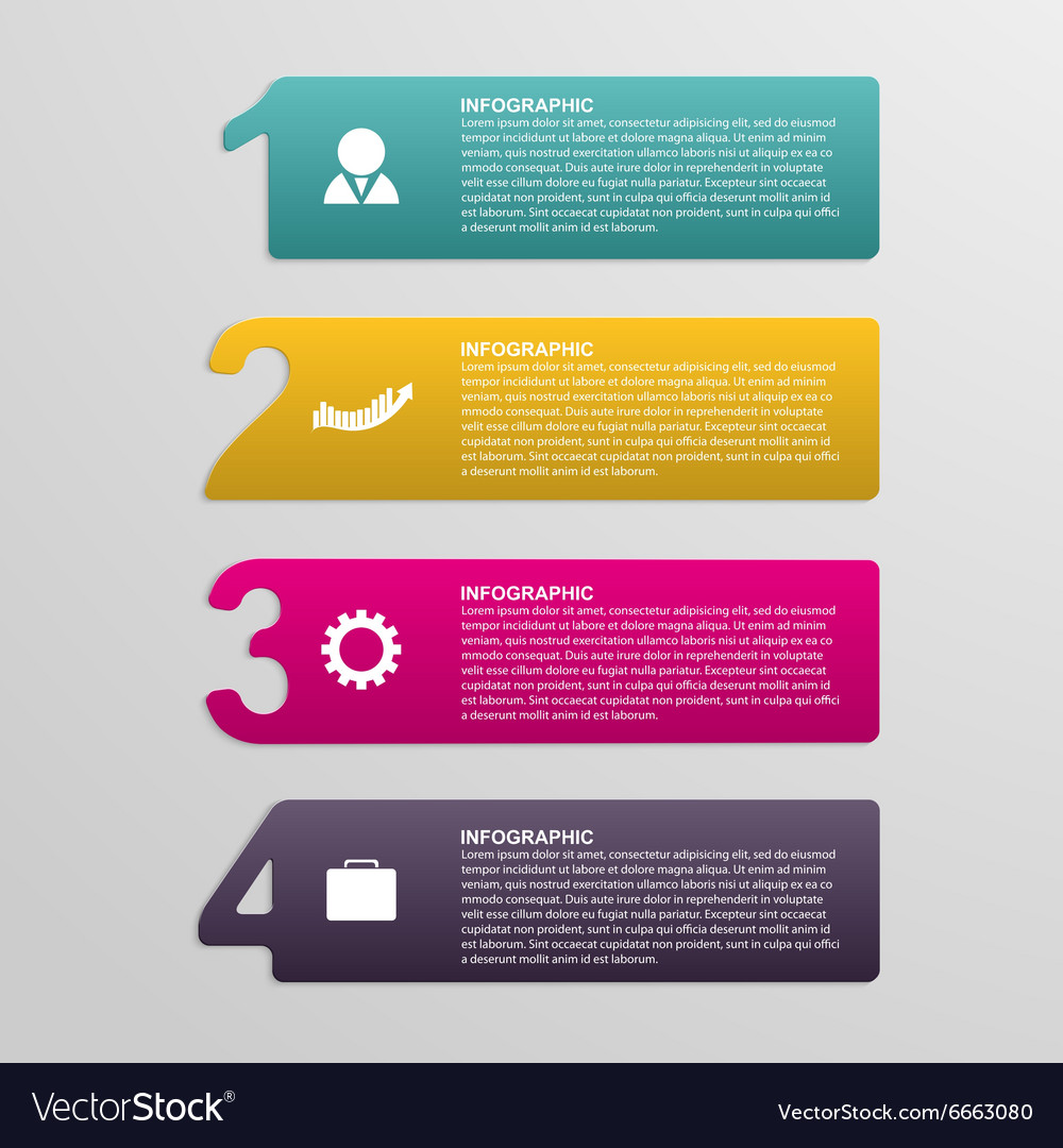 Creative colorful numbered infographic in the form vector