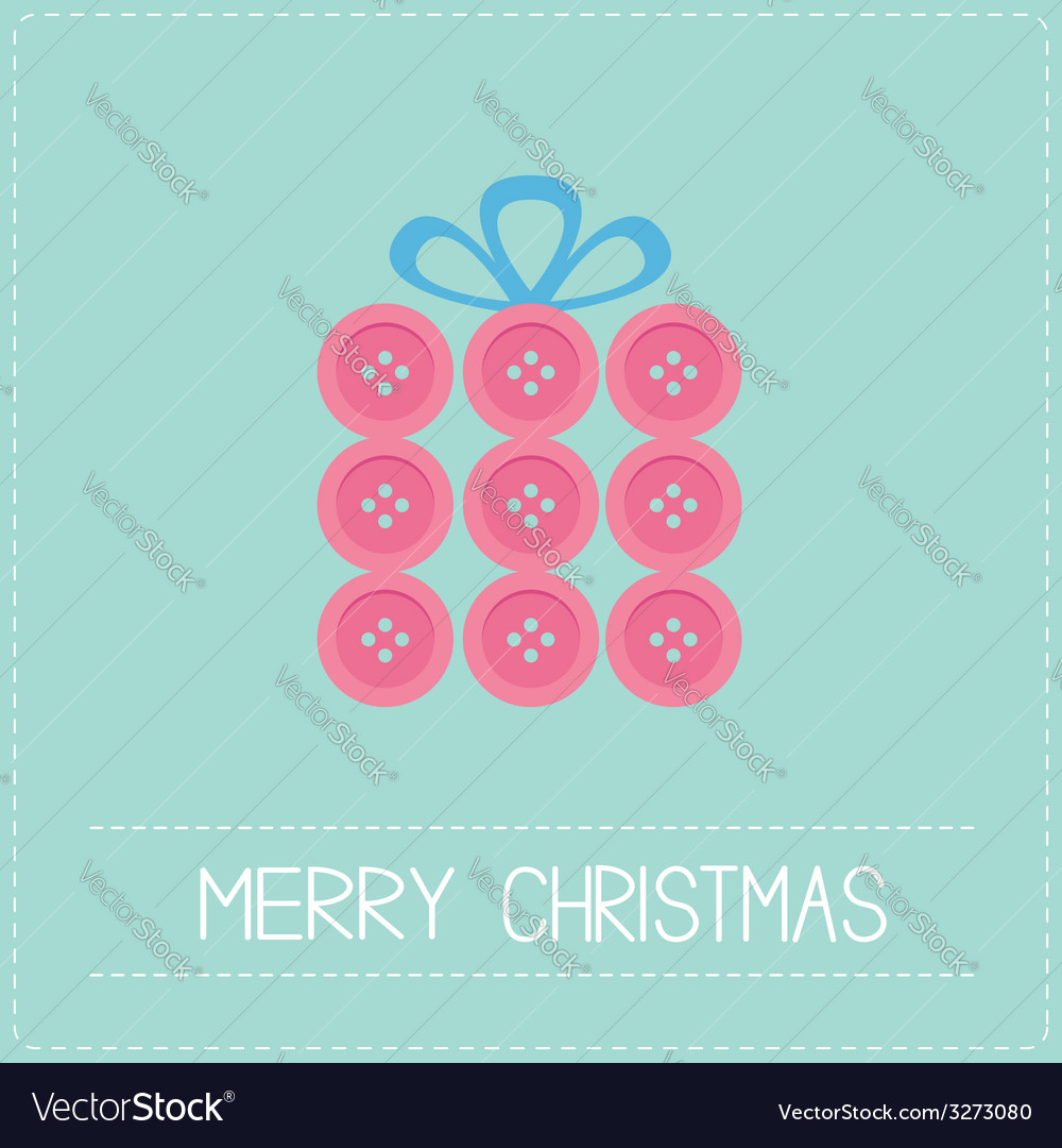 Gift box made from pink buttons appligue dash line vector