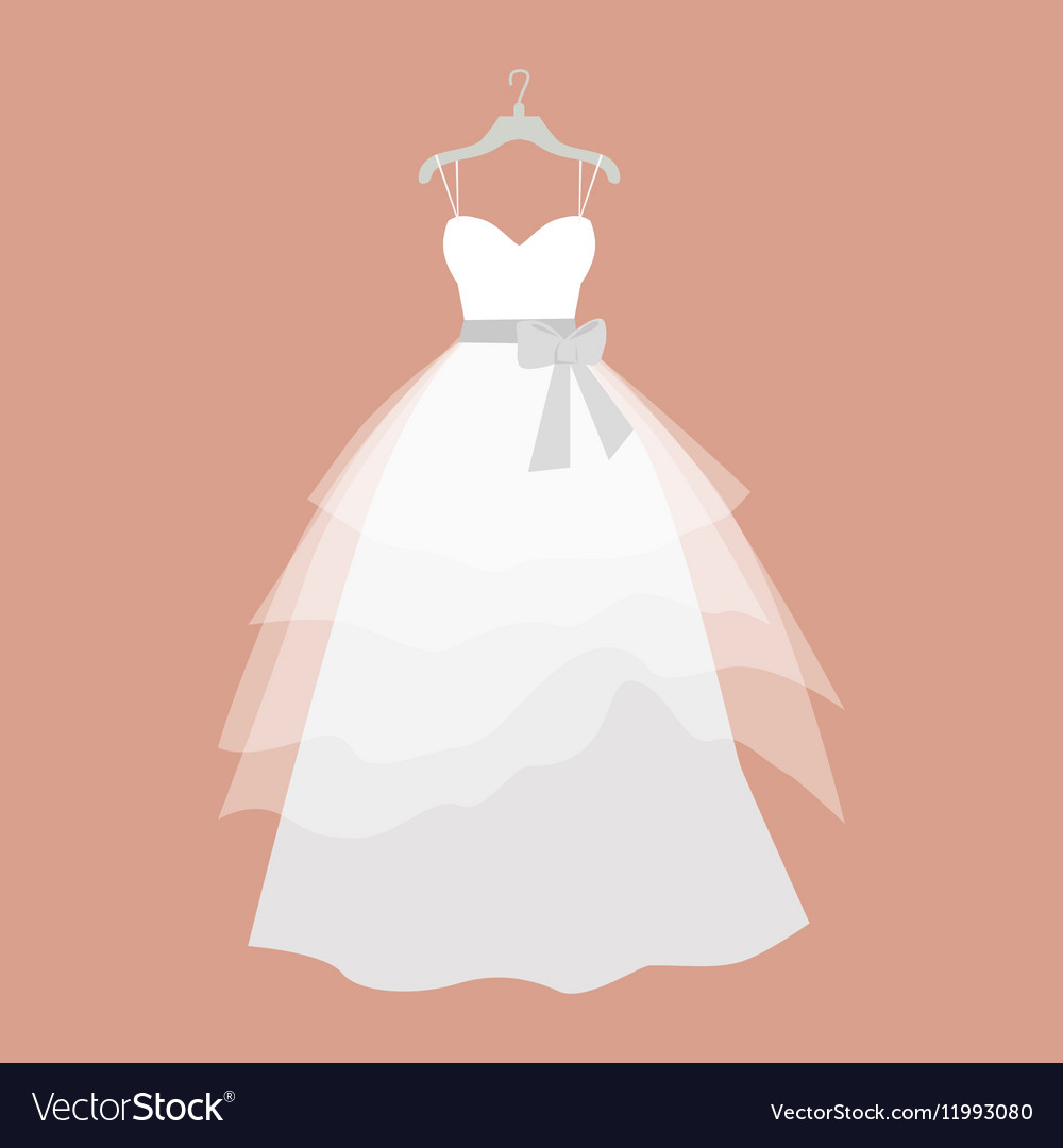 Wedding dress in flat design vector