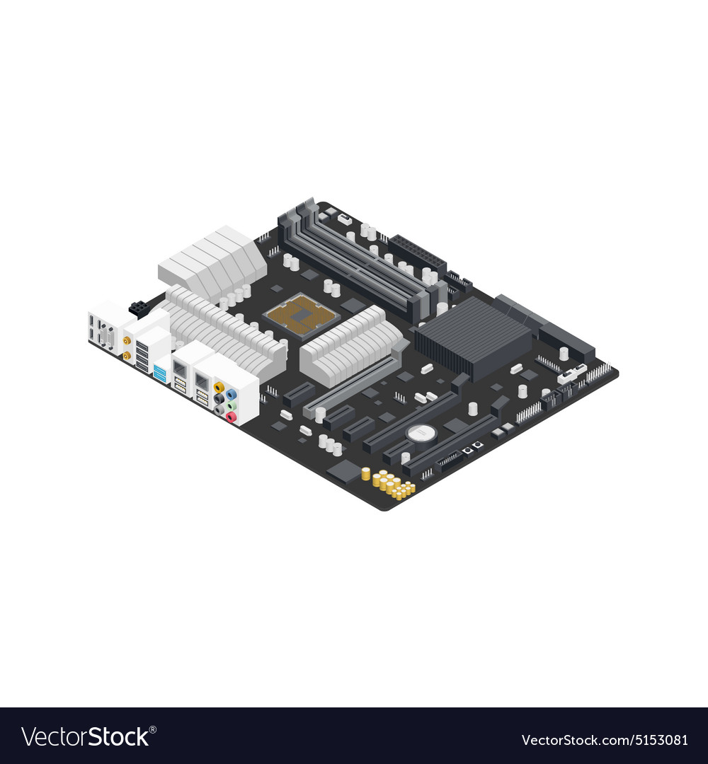 Motherboard isometric detailed icon vector