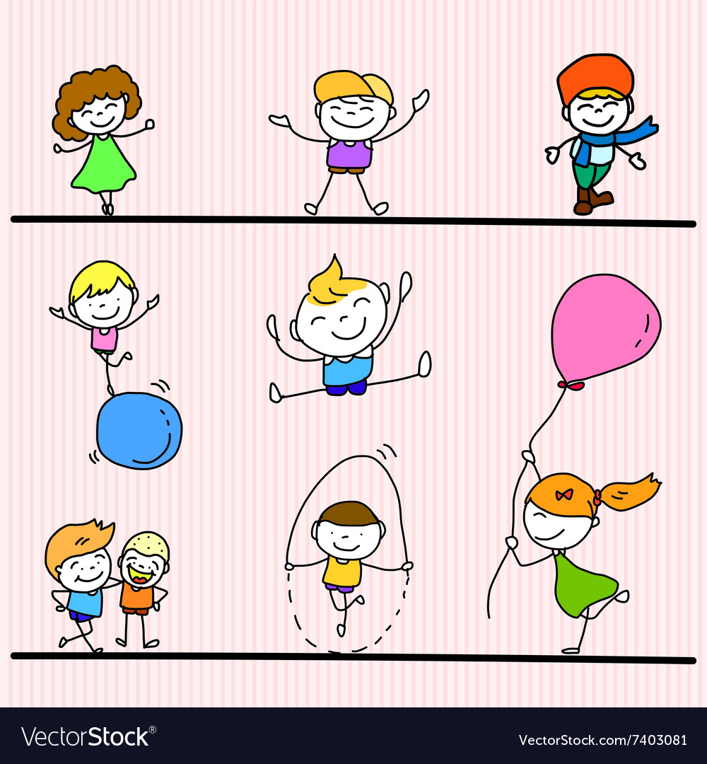 Set of hand drawing cartoon happy kids playing vector