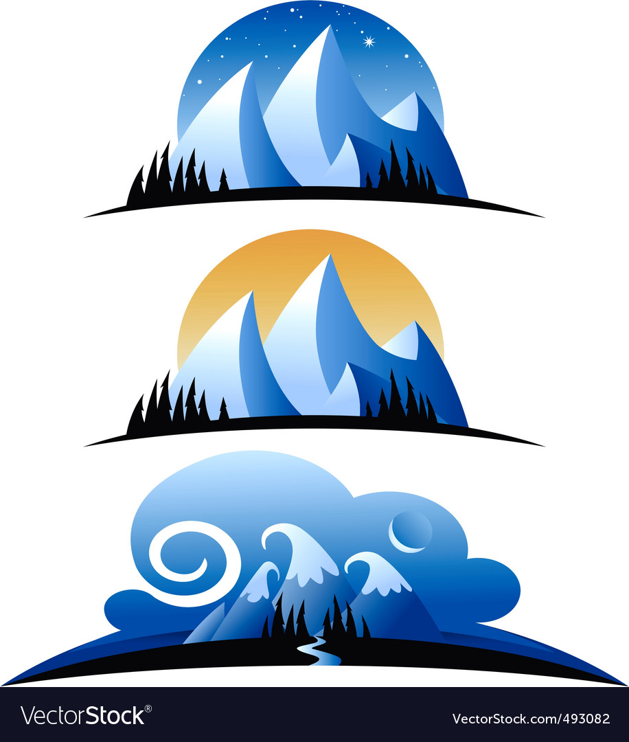 Cartoon mountains vector