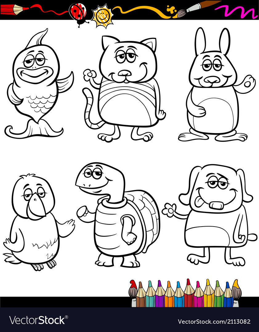 Cute pets cartoon coloring book vector