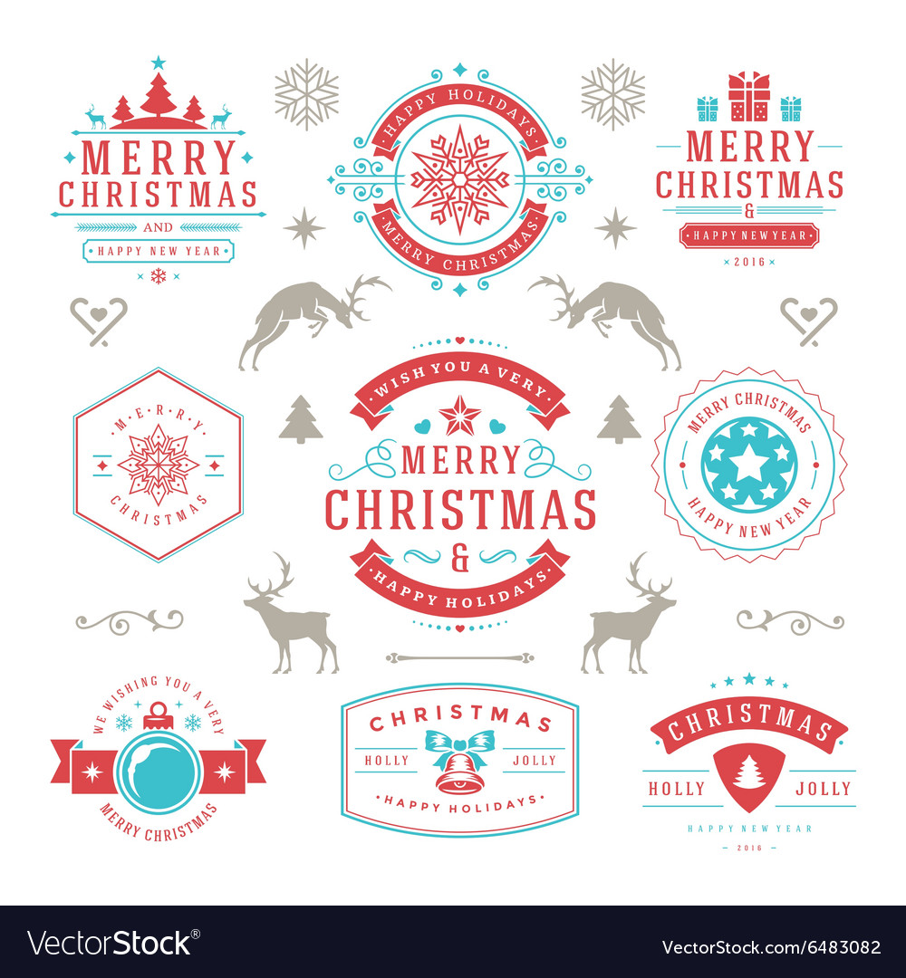 Merry christmas and happy new year wishes vector