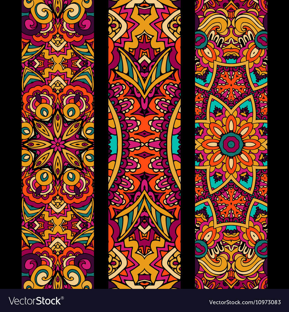 Festive colorful ethnic banner set vector