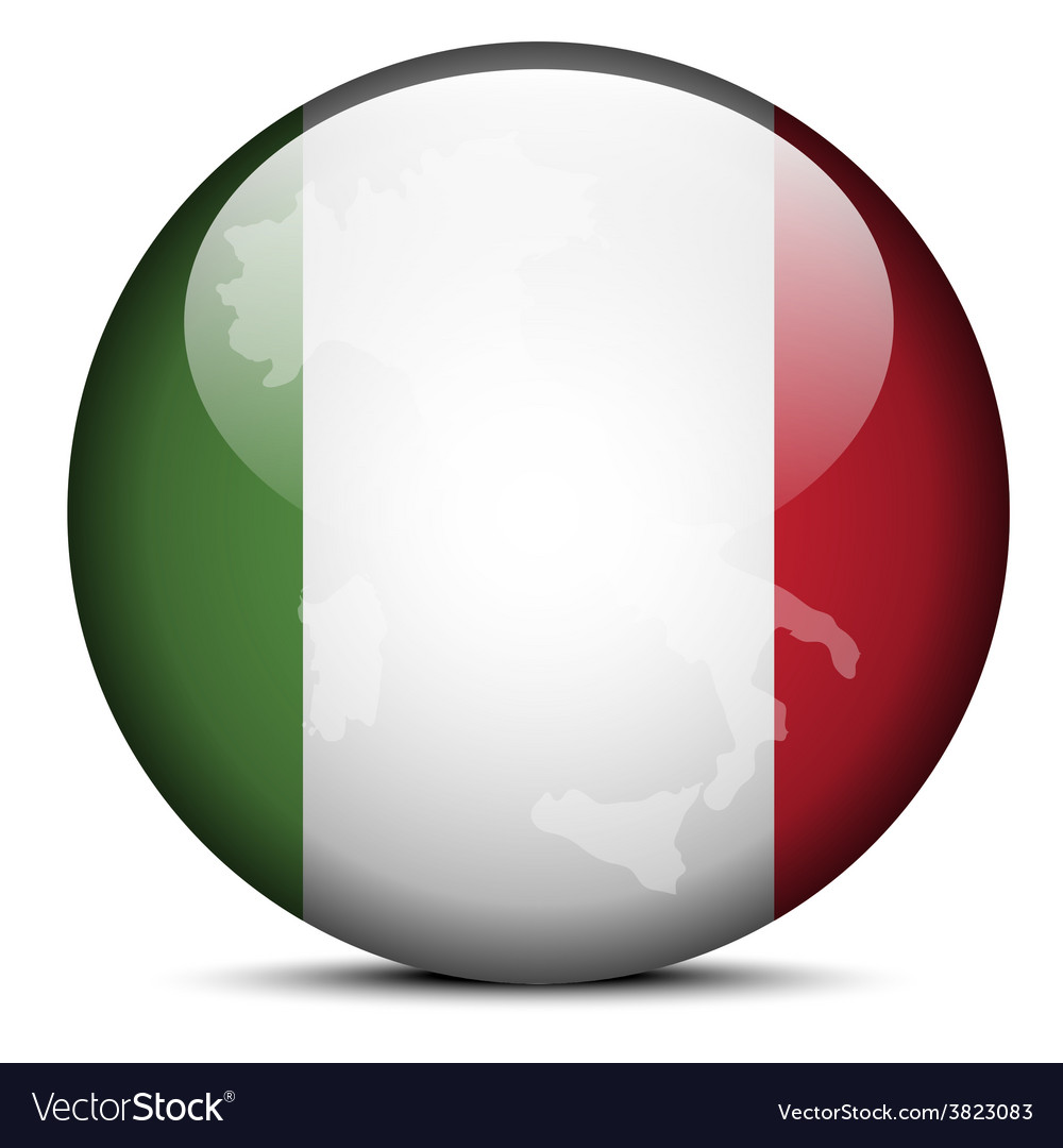 Map on flag button of italian republic italy vector