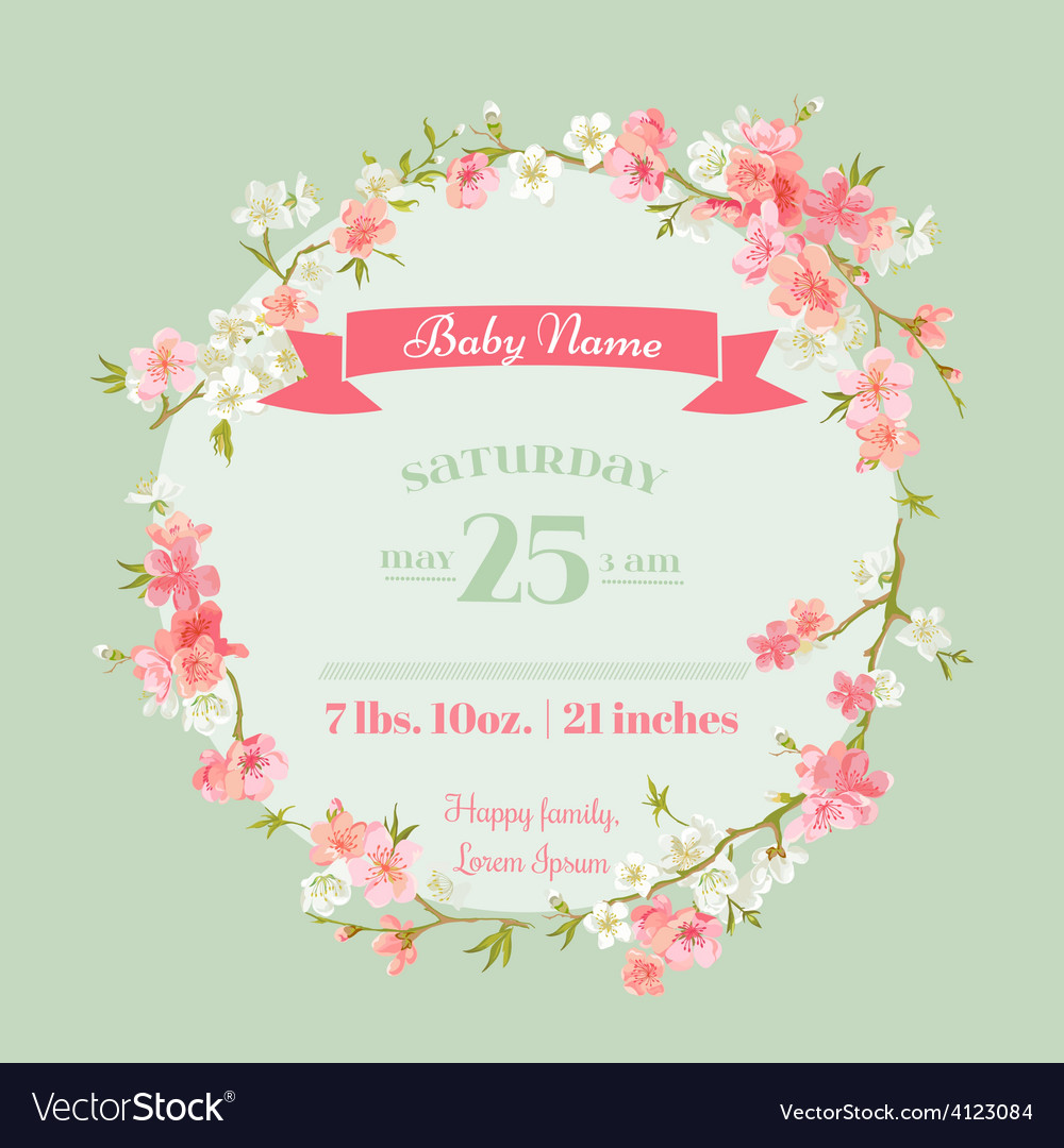 Baby shower or arrival cards  with spring blossom vector