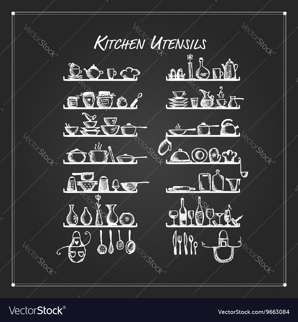 Kitchen utensils on shelves sketch drawing for vector