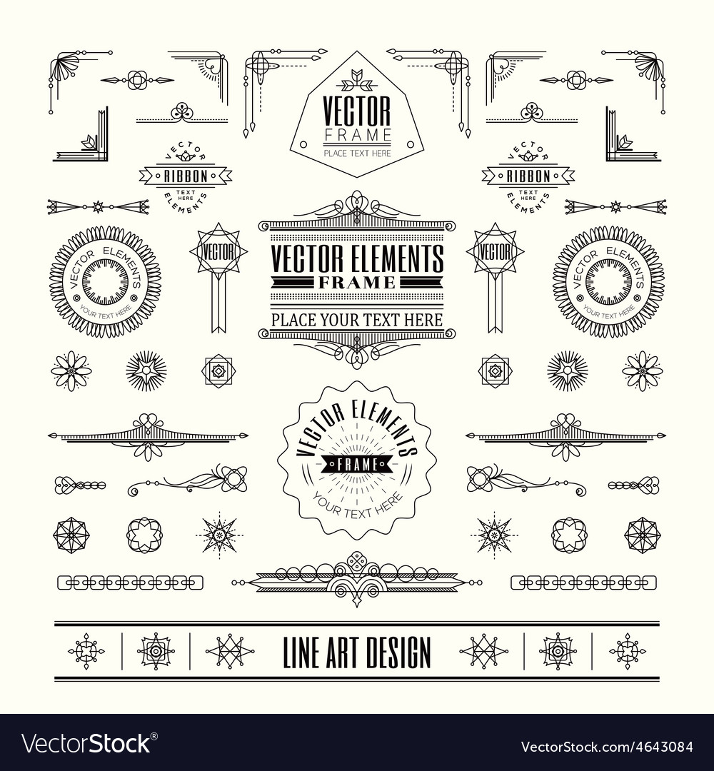 Line art deco retro vintage frame design elements vector