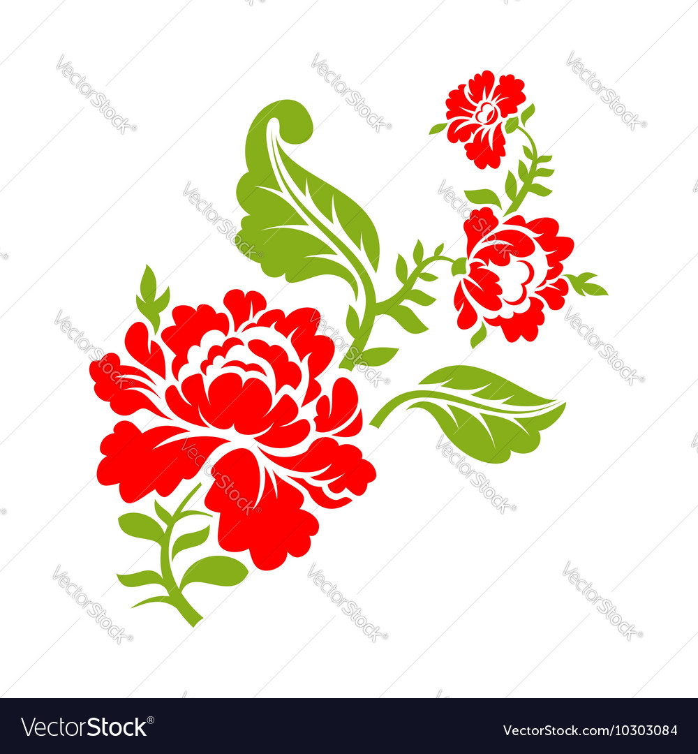 Rose on branch on white background isolated floral vector