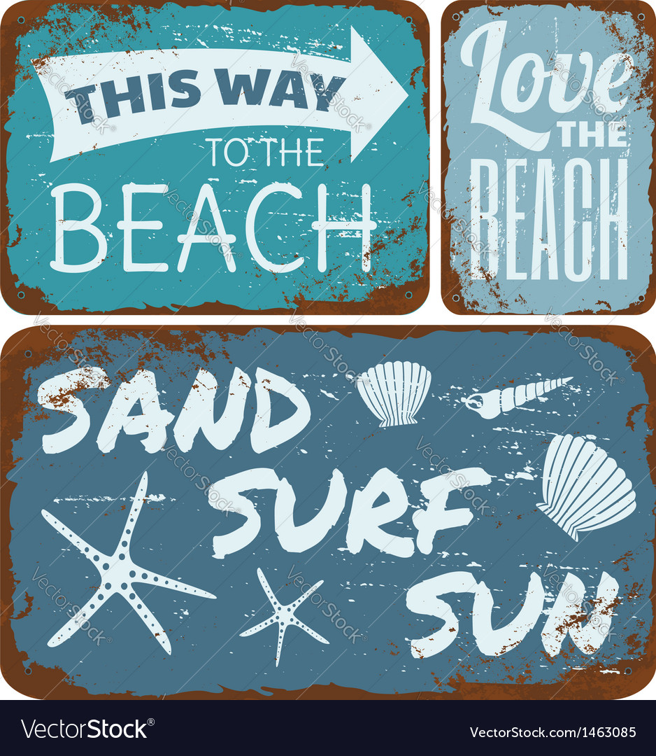 Old rusty beach tin signs collection vector