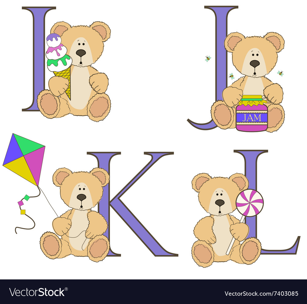 Teddy bear alphabet i j k l with vector