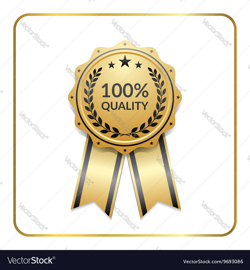 Award ribbon gold icon laurel wreath quality vector