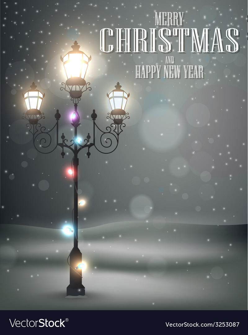 Christmas vintage background with lamp vector