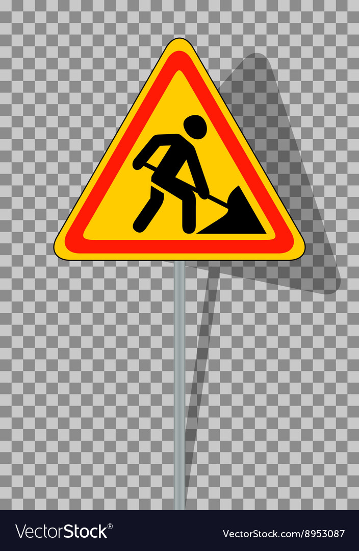 Road signs roadworks on transparent background vector