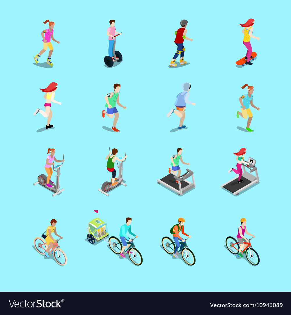 Isometric sporting people set running people vector