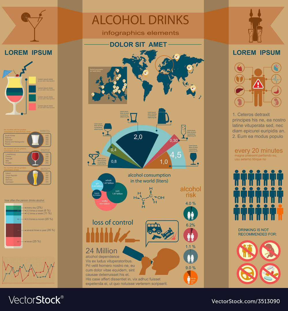 Alcohol drinks infographic vector