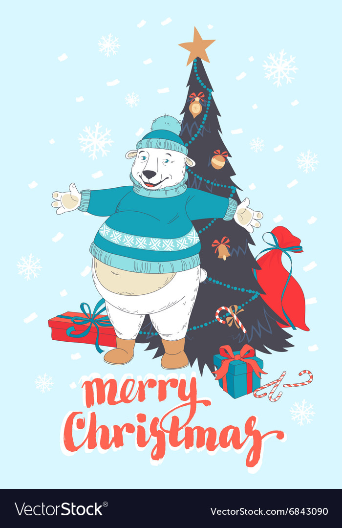 Funny merry christmas card with polar bear wearing vector