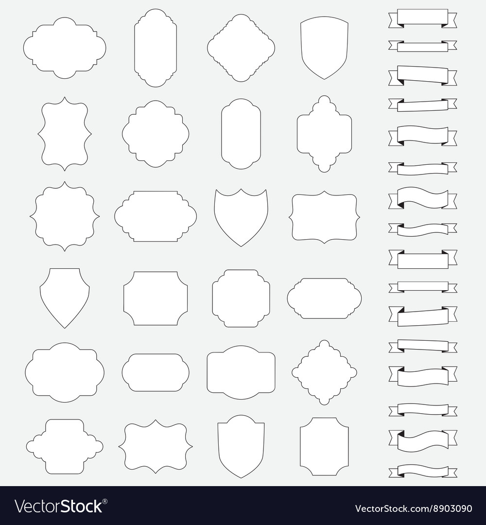 Set of blank banners and ribbons vector