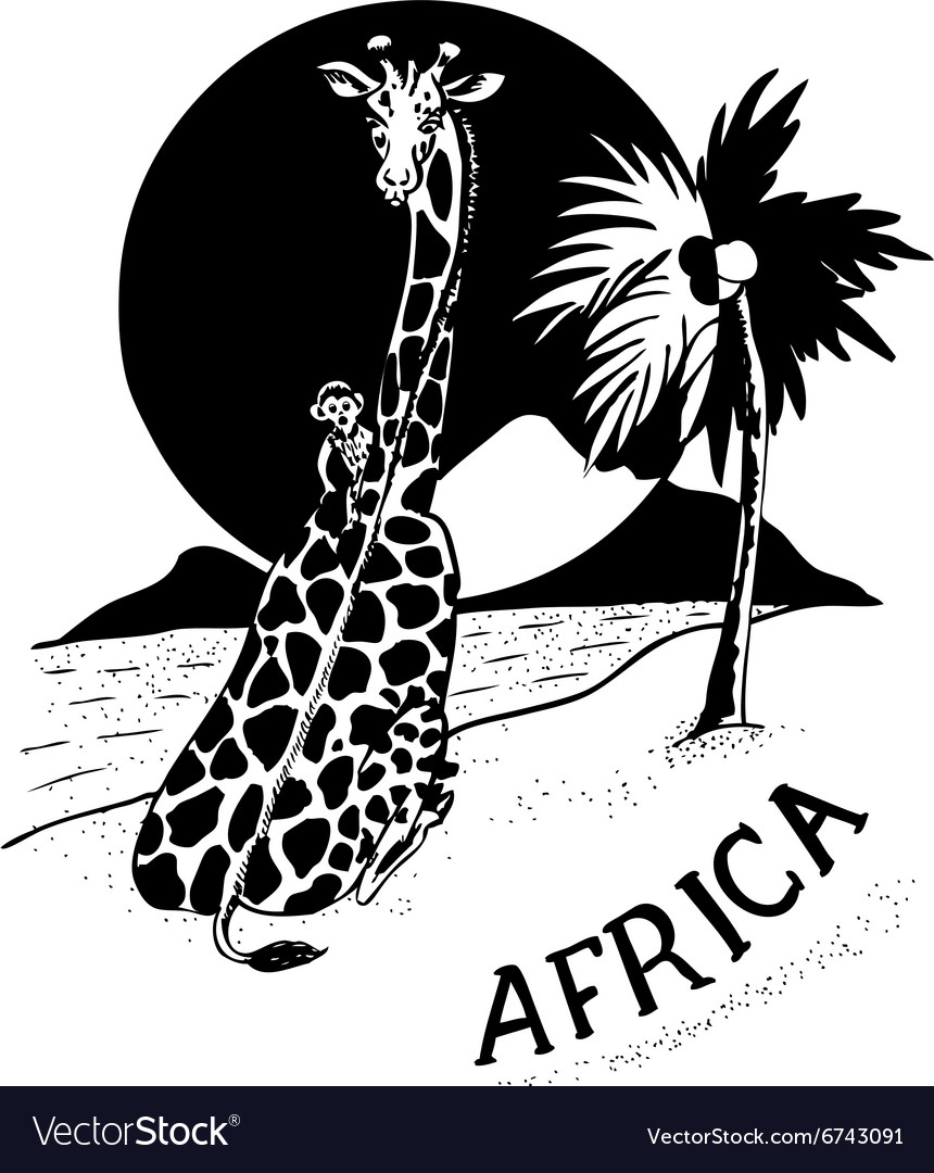 African landscape and animals vector