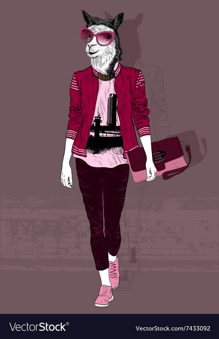 Fashion woman with the head of alpaca vector