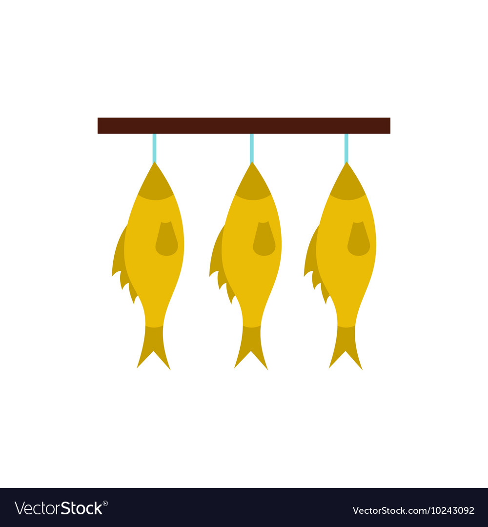 Stockfish hanging on a rope icon flat style vector