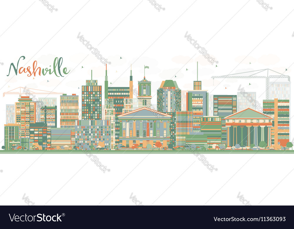 Abstract nashville skyline with color buildings vector