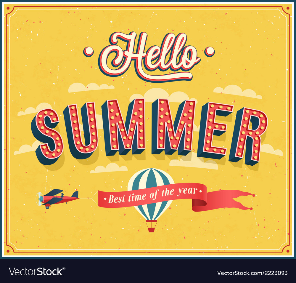 Hello summer typographic design vector