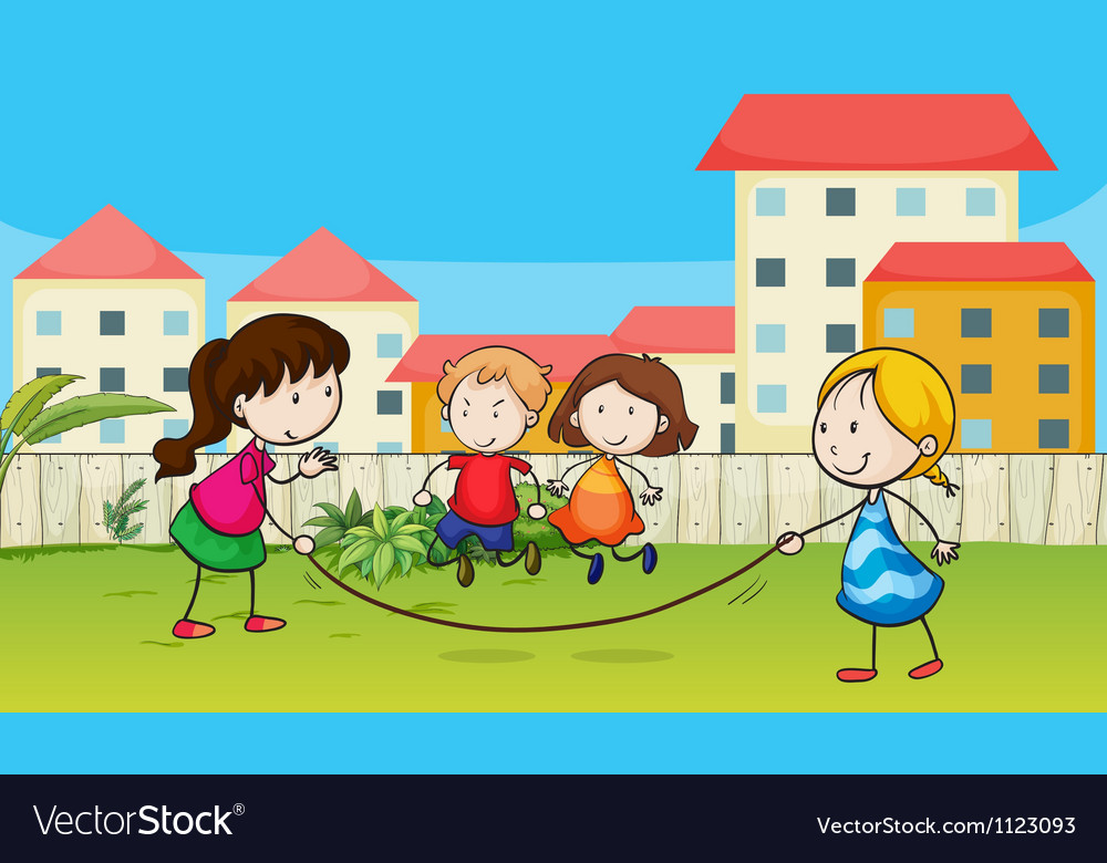 Kids playing rope vector