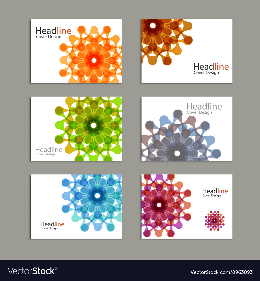 Six pattern brochure with abstract figures vector