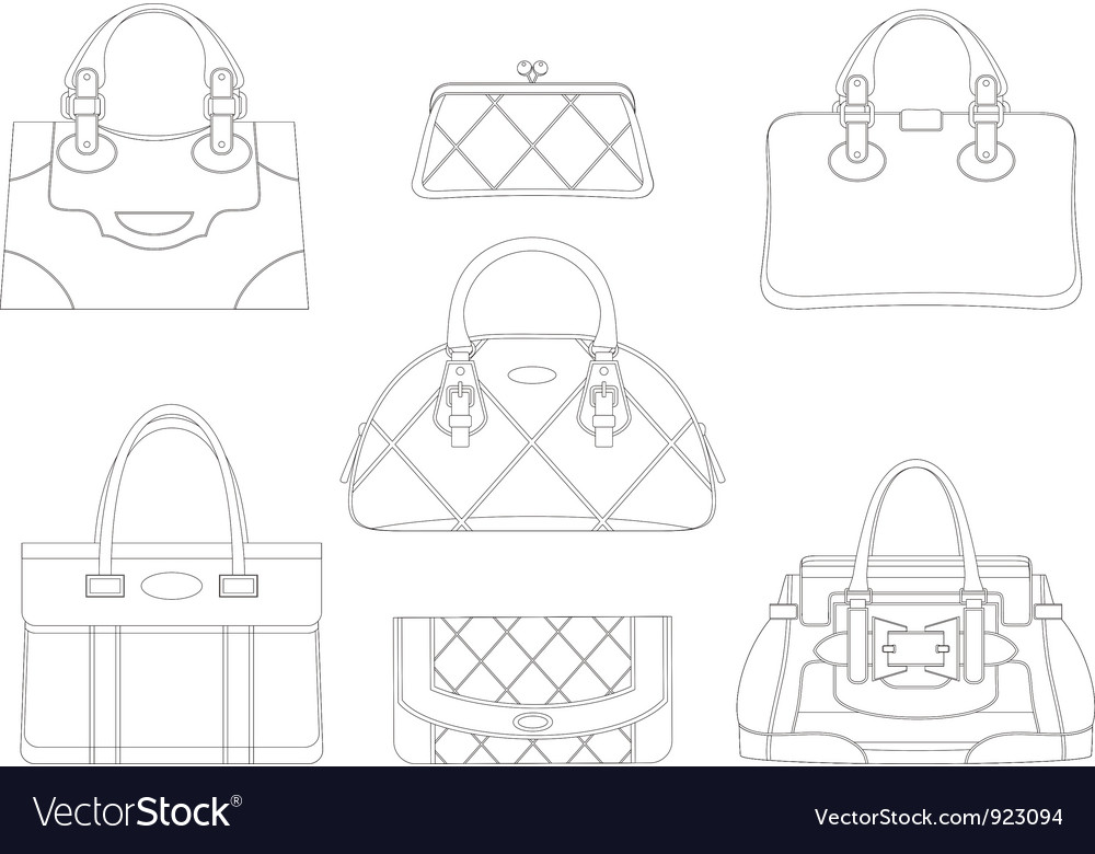 Contours of women bags vector