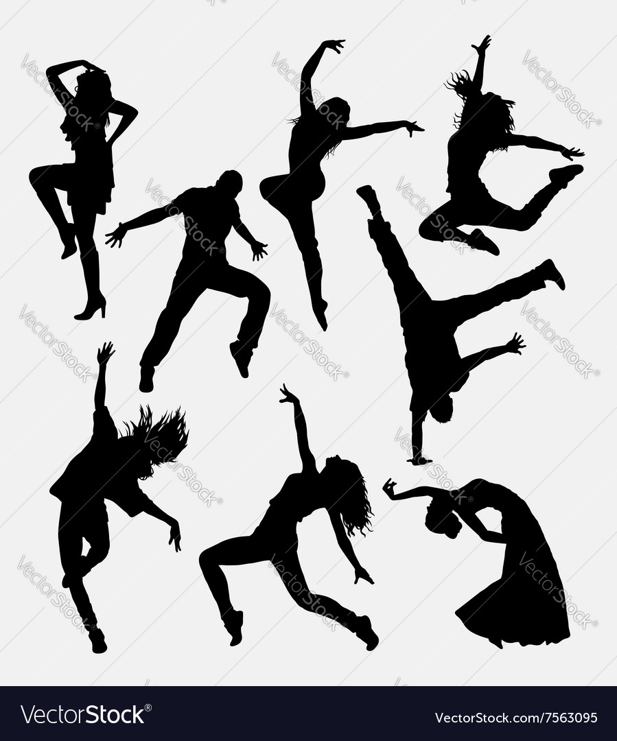 Modern dance male and female silhouette vector