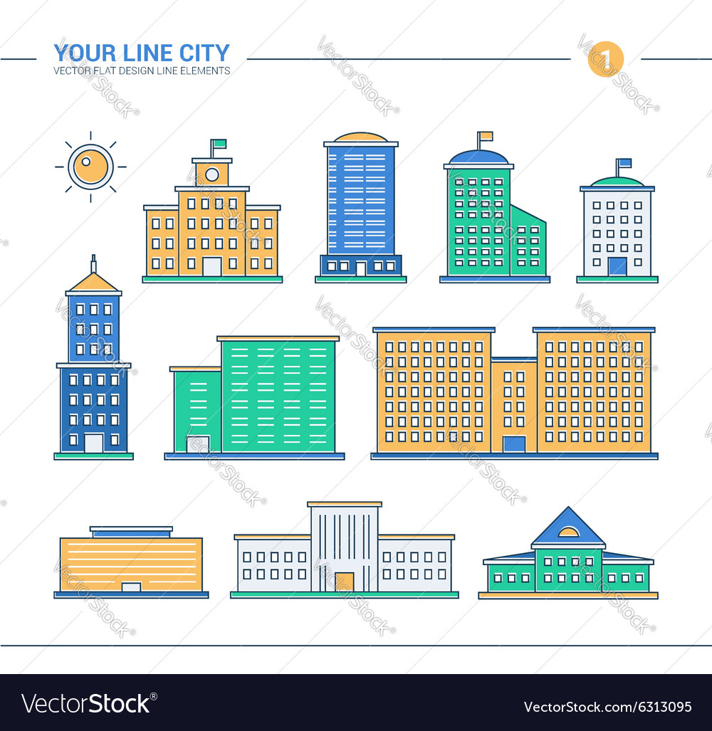 Set of line flat design administrative buildings vector