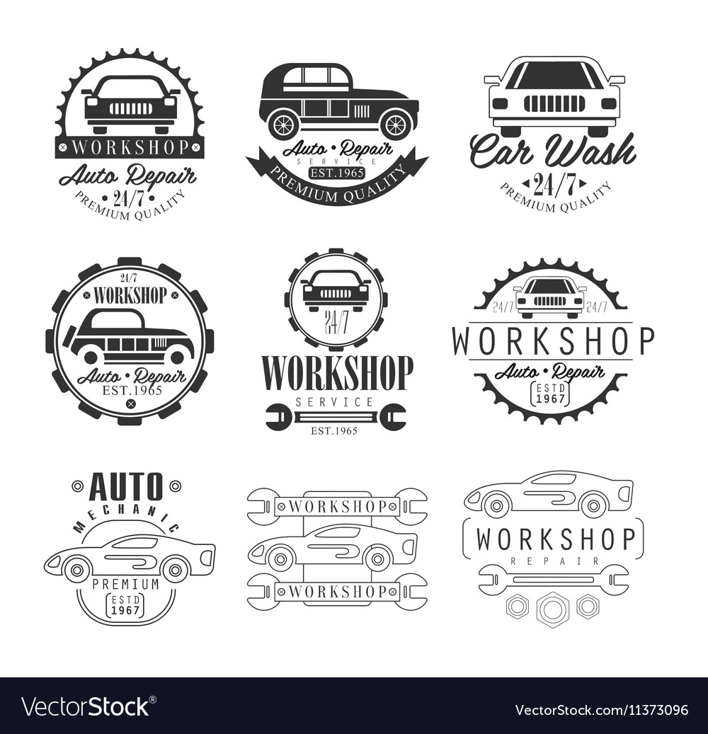 Car repair workshop classic style vector
